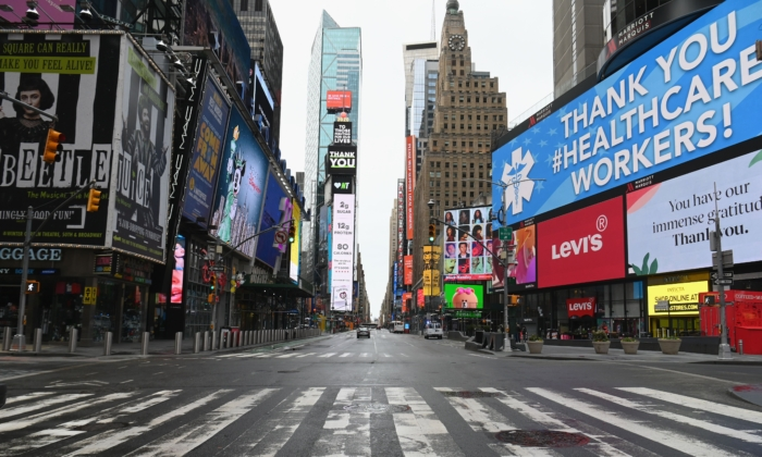 An almost empty Times Square in New York on April 3, 2020. (Angela Weiss/AFP via Getty Images)