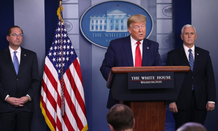 President Donald Trump speaks in the press briefing room with members of the White House Coronavirus Task Force April 3, 2020 in Washington. (McNamee/Getty Images)