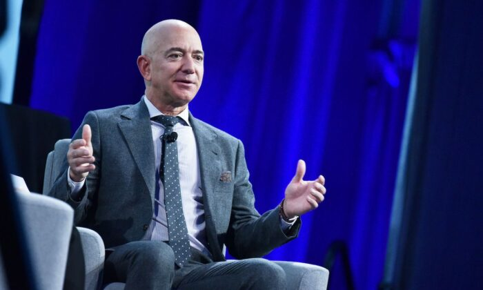 Jeff Bezos speaks at the Walter E. Washington Convention Center in Washington on Oct. 22, 2019. (Mandel Ngan/AFP via Getty Images)