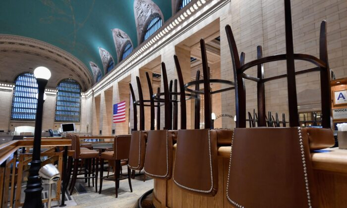 A view of an empty restaurant is seen at Grand Central Station on in New York City on March 25, 2020. (Angela Weiss/AFP via Getty Images)