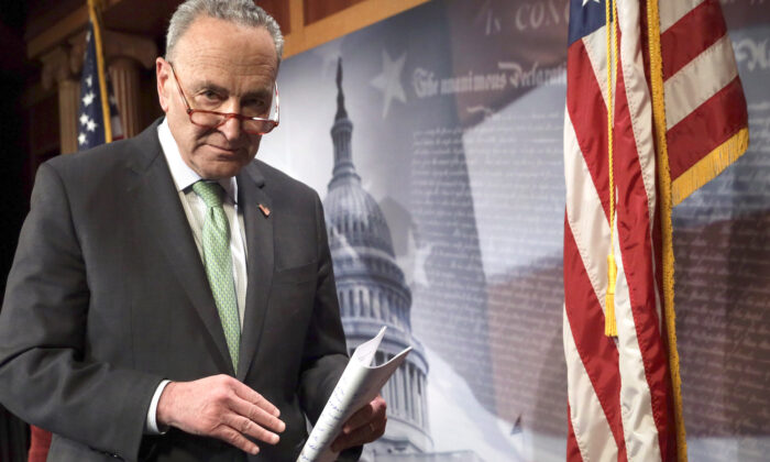 Senate Minority Leader Sen. Chuck Schumer (D-N.Y.) leaves after a news conference at the U.S. Capitol in Washington on March 17, 2020. (Alex Wong/Getty Images)