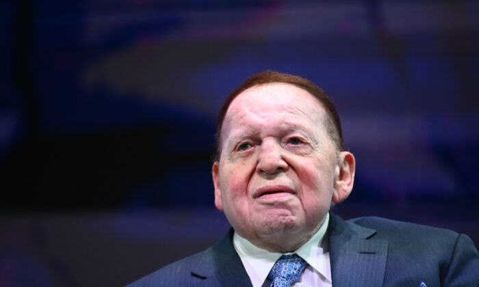 Sheldon Adelson, CEO of Las Vegas Sands, listens to President Donald Trump address the Israeli American Council National Summit 2019 at the Diplomat Beach Resort in Hollywood, Florida, on Dec. 7, 2019. (Mandel Ngan/AFP via Getty Images)