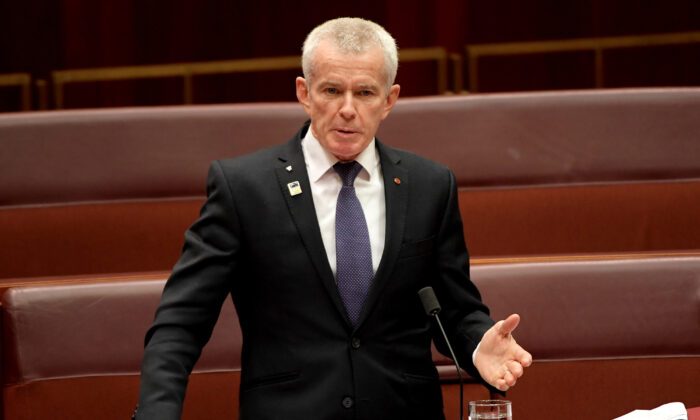 Senator Malcolm Roberts in the Senate at Parliament House on July 4, 2019, in Canberra, Australia. (Tracey Nearmy/Getty Images)