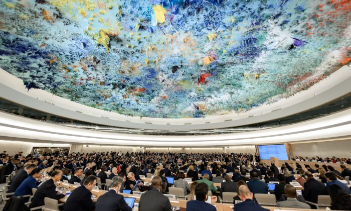 Delegates attend the opening of the UN Human Rights Council's main annual session on February 24, 2020 in Geneva. -(Fabrice Coffrini/AFP via Getty Images)