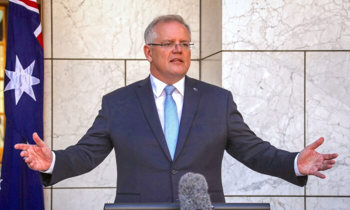 Australian Prime Minister Scott Morrison, at Australia's Parliament House in Canberra, March 22, 2020. (David Gray/Getty Images)