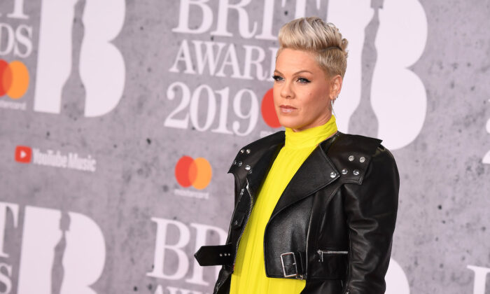 Pink attends The BRIT Awards 2019 held at The O2 Arena in London, England on Feb. 20, 2019. (Jeff Spicer/Getty Images)