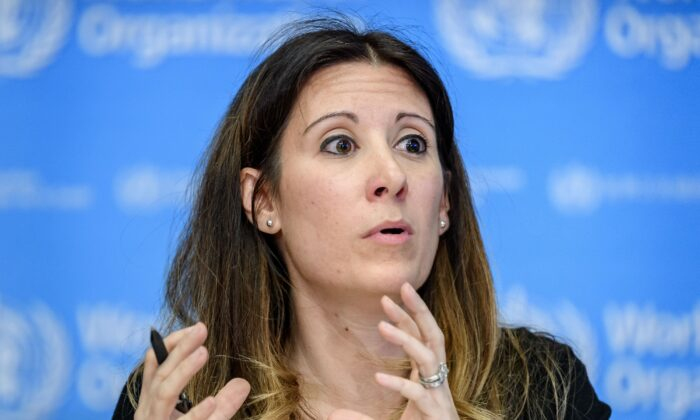 World Health Organization (WHO) Technical Lead Maria Van Kerkhove talks during a daily press briefing on COVID-19, the disease caused by the novel coronavirus, at the WHO heardquaters in Geneva on March 11, 2020. (FABRICE COFFRINI/AFP via Getty Images)