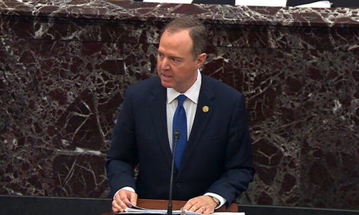 In this screengrab taken from a Senate Television webcast, House manager Rep. Adam Schiff (D-Calif.) speaks during impeachment proceedings against President Donald Trump in the Senate at the Capitol in Washington on Feb. 3, 2020. (Senate Television via Getty Images)