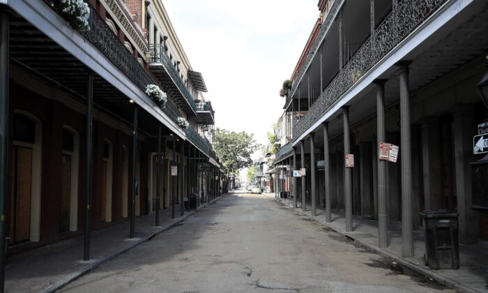 A view of an empty street in the French Quarter amid the coronavirus (Covid-19) pandemic in New Orleans, La., on March 27, 2020. (Chris Graythen/Getty Images)