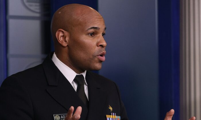 U.S. Surgeon General Jerome Adams speaks during a White House Coronavirus Task Force briefing at the White House in Washington on April 3, 2020. (Win McNamee/Getty Images)
