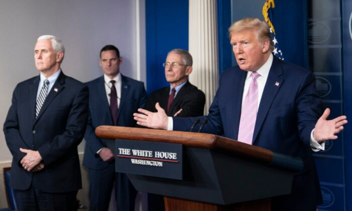 President Donald Trump speaks at a press briefing with members of the White House Coronavirus Task Force in Washington, on April 4, 2020. (Sarah Silbiger/Getty Images)