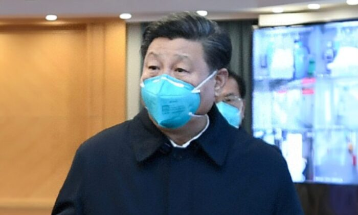 Chinese Communist Party leader Xi Jinping visits Huoshenshan Hospital in Wuhan, the epicenter of the CCP virus outbreak, Hubei Province, China, on March 10, 2020. (Xie Huanchi/Xinhua via Reuters)