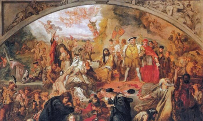 """How did the plague influence the writing of Shakespeare's plays? Sir John Gilbert's 1849 painting """"The Plays of William Shakespeare,"""" containing scenes and characters from several of the Bard's plays. Daheesh Museum of Art. (Public Domain)"""