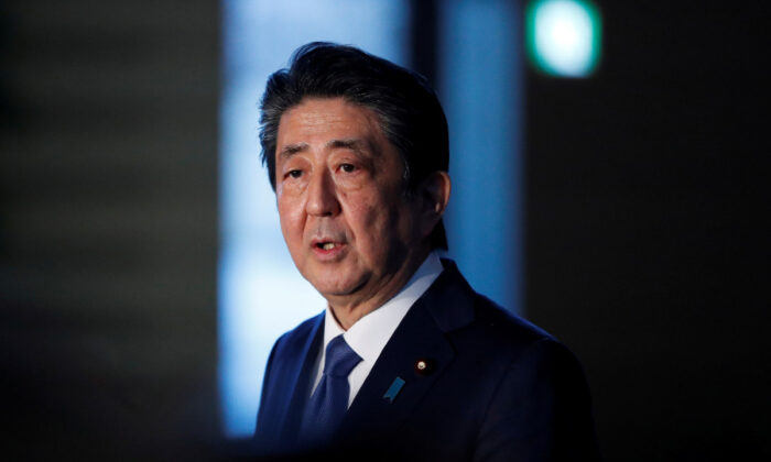 Japan's Prime Minister Shinzo Abe speaks to the media on Japan's response to the CCP virus outbreak, at his official residence in Tokyo, Japan, on April 6, 2020. (Issei Kato/Reuters)