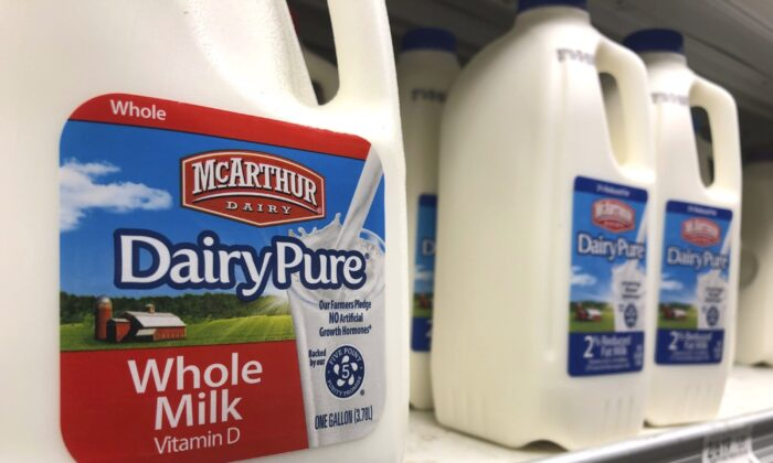 Jugs of McArthur Dairy milk, a Dean Foods brand, are shown at a grocery store, in Surfside, Fla., on Nov. 12, 2019. (Wilfredo Lee/AP)