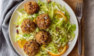Lamb and Butternut Squash Meatballs With Pistachio Pesto