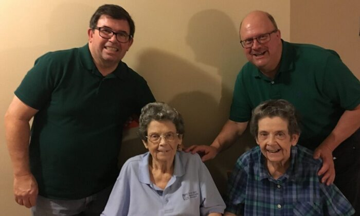 Cousins Richard Joyce (L) and Ray Bodine (R) with their aunts Lauretta (2nd L) and Lenora Joyce, who both tested positive for COVID-19 in March. (Courtesy of Ray Bodine)
