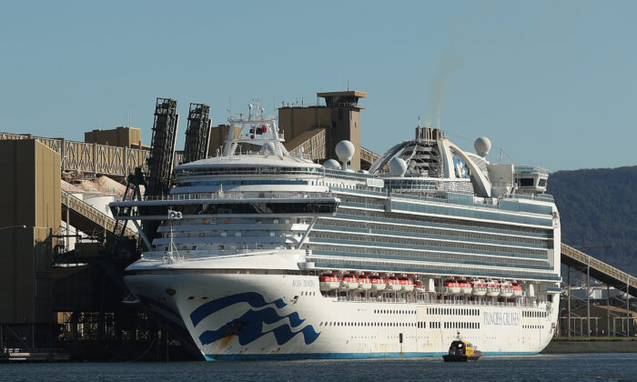 The Ruby Princess cruise ship sits docked in Port Kembla, Australia, on April 6, 2020. (Mark Metcalfe/Getty Images)