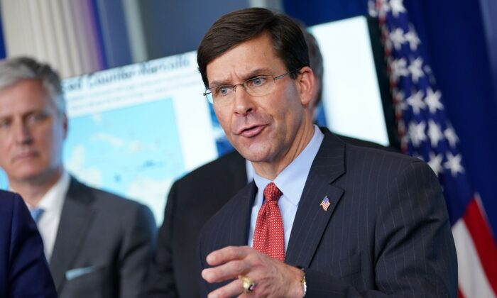 Secretary of Defense Mark Esper speaks during the daily briefing on the CCP virus in the Brady Briefing Room at the White House in Washington on April 1, 2020. (Mandel Ngan/AFP via Getty Images)