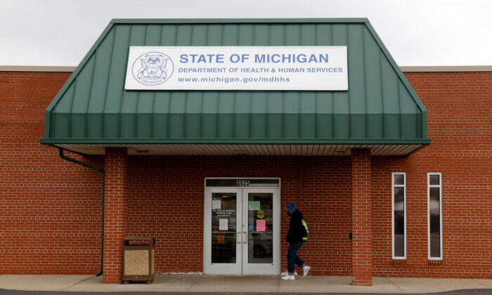 A State of Michigan Department of Health and Human Services office that is currently closed due to COVID-19 in Detroit, Mich., on March 26, 2020. (Jeff Kowalsky/AFP via Getty Images)