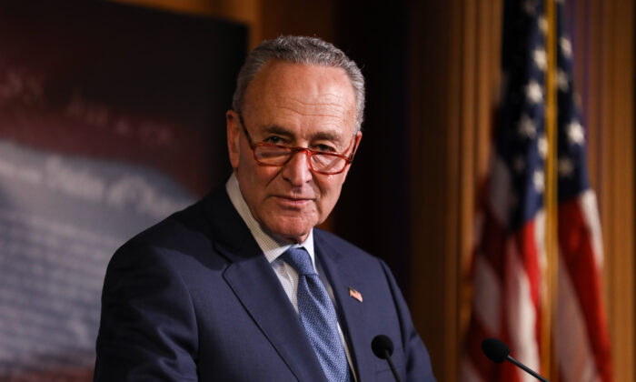 Senate Minority Leader Sen. Chuck Schumer (D-N.Y.) speaks to media after the Senate voted to acquit President Donald Trump on two articles of impeachment, at the Capitol in Washington on Feb. 5, 2020. (Charlotte Cuthbertson/The Epoch Times)