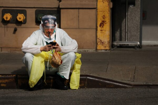 A medical worker takes a break