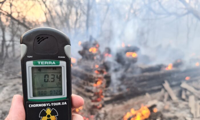 A person holds a Geiger counter at the scene of a forest fire at the Chernobyl exclusion zone, not far from the nuclear power plant, on April 5, 2020. (Yaroslav Emalianenko/AFP/Getty Images)