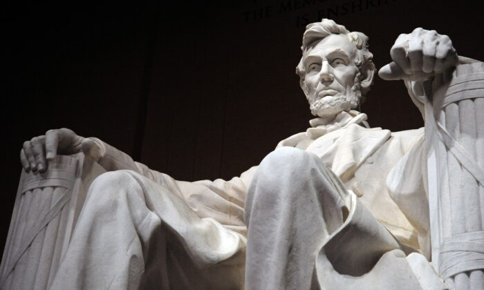 The statue of the 16th President of the United States, Abraham Lincoln, is seen inside the Lincoln Memorial in Washington on Feb. 12, 2009. (Karen Bleier/AFP via Getty Images)