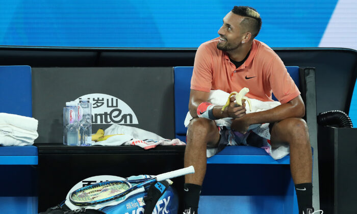 Nick Kyrgios at 2020 Australian Open at Melbourne Park on Jan. 27, 2020 in Melbourne, Australia. (Mark Kolbe/Getty Images)