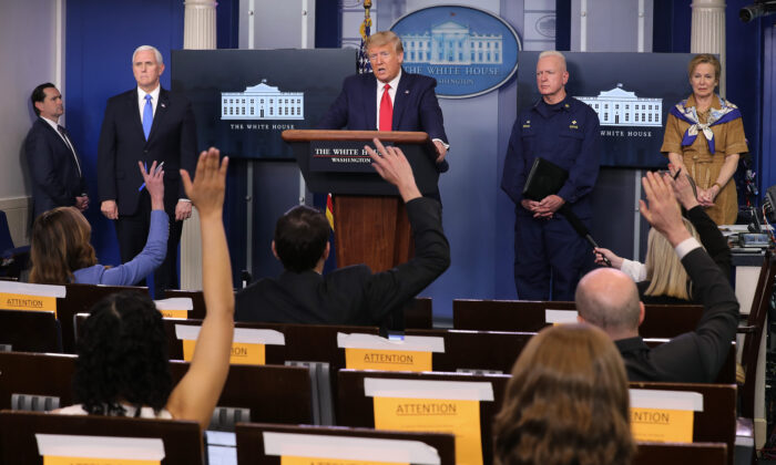 (2nd L-R) U.S. Vice President Mike Pence, President Donald Trump, Assistant Secretary for Health Admiral Brett Giroir and Dr. Deborah Birx, coronavirus response coordinator, in the Brady Press Briefing Room at the White House on April 6, 2020. (Chip Somodevilla/Getty Images)
