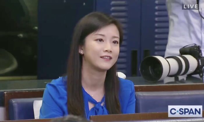 Phoenix TV correspondent Youyou Wang asking President Donald Trump a question at the press briefing in the White House on April 6, 2020. (screenshot/CSPAN)