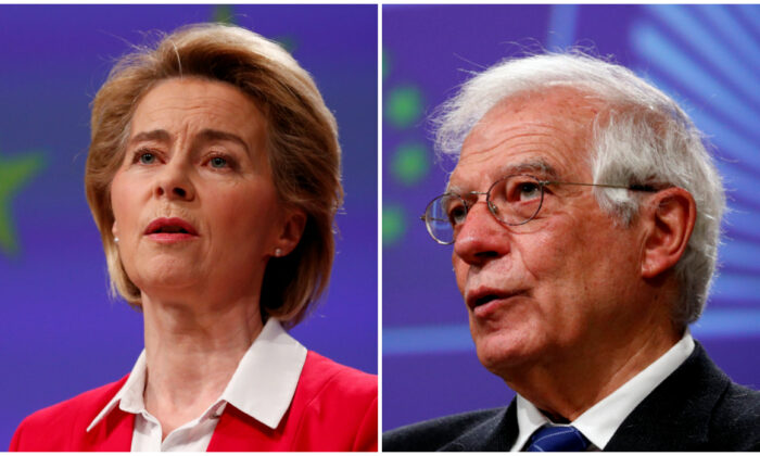 (L) European Commission President Ursula von der Leyen holds a news conference detailing EU efforts to limit economic impact of the CCP disease (COVID-19) outbreak, in Brussels, Belgium April 2, 2020. (Francois Lenoir/Pool/Reuters), (R) European High Representative for Foreign Affairs and Security Policy Josep Borrell, holds a virtual news conference at the European Commission in Brussels, Belgium, on March 31, 2020. (Francois Lenoir/Pool/Reuters/File Photo)