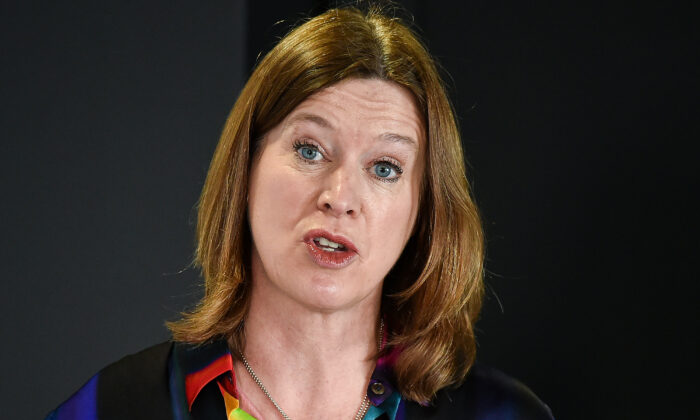 Scotland's Chief Medical Officer Catherine Calderwood speaks at a briefing on the CCP virus in Edinburgh on March 29, 2020. (Jeff J. Mitchell/Pool/AFP via Getty Images)
