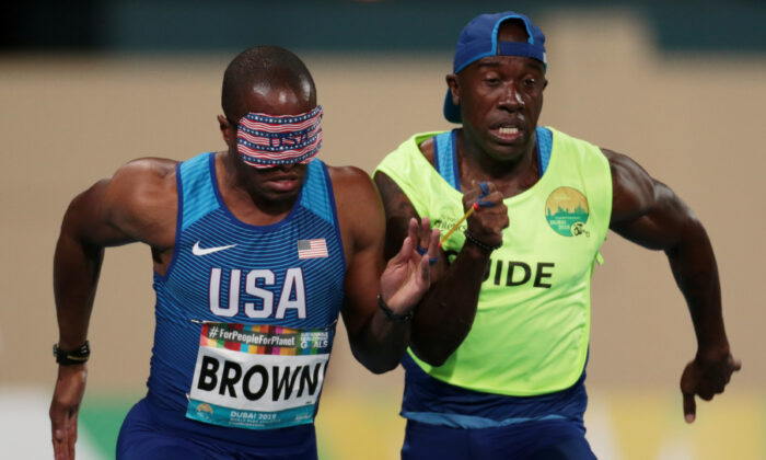 David Brown during the Men's 100m semi-final at the 2019 World Para Athletics Championships in Dubai, United Arab Emirates. (REUTERS/Christopher Pike)