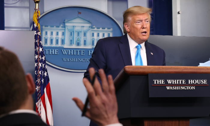 President Donald Trump speaks to reporters following a meeting of the coronavirus task force in the Brady Press Briefing Room at the White House in Washington on April 7, 2020. (Chip Somodevilla/Getty Images)