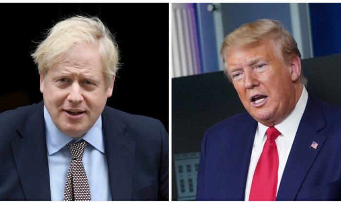 (L) Britain's Prime Minister Boris Johnson leaves Downing Street in London on March 4, 2020. (Toby Melville/Reuters) (R) President Donald Trump speaks at the White House in Washington on April 6, 2020. (Mandel Ngan/AFP via Getty Images)