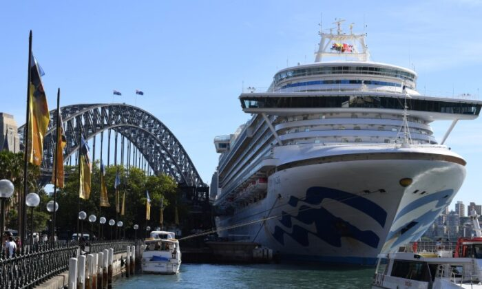 Ruby Princess docked at Circular Quay during the disembarkation of passengers in Sydney, Australia, March 19. (Dean Lewins/REUTERS