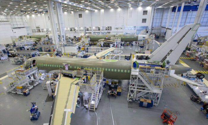 The Airbus A220 assembly line at the company's facility in Mirabel, Quebec, on Jan. 14, 2019. (The Canadian Press/Ryan Remiorz)