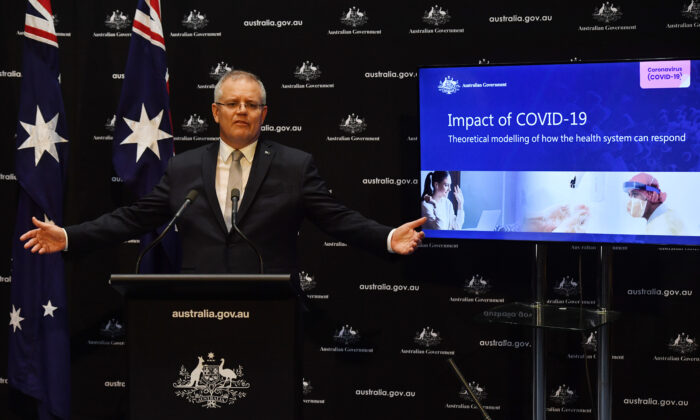 Prime Minister Scott Morrison during a press conference in the Main Committee Room at Parliament House on April 7, 2020 in Canberra, Australia. (Sam Mooy/Getty Images)