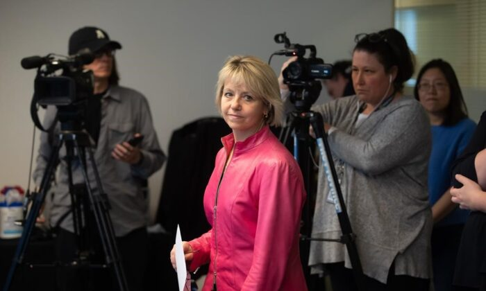 British Columbia provincial health officer Dr. Bonnie Henry arrives for a news conference to give an update on COVID-19, in Vancouver on March 18, 2020. (Darryl Dyck/The Canadian Press)