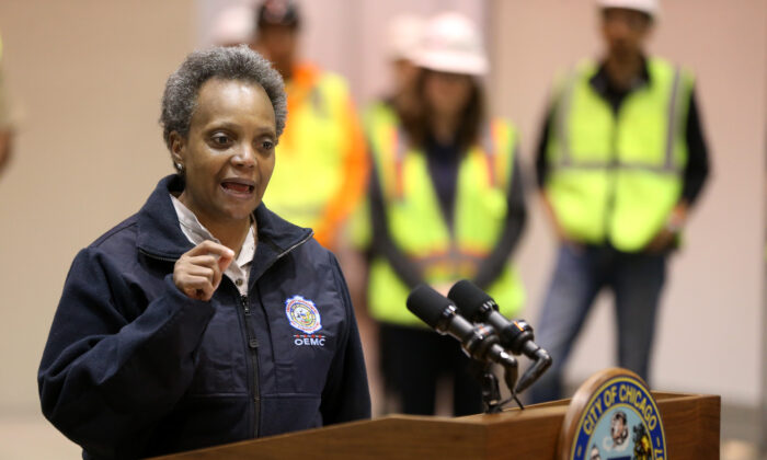 Chicago Mayor Lori Lightfoot at McCormick Place in Chicago, Ill., on April 3, 2020. (Chris Sweda-Pool via Getty Images)