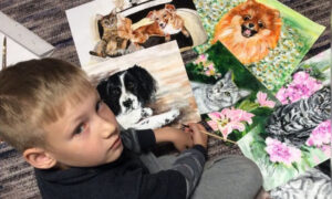 9-Year-Old Russian Painter Trades Pet Portraits for Pet Food and Medicine for Animal Shelter