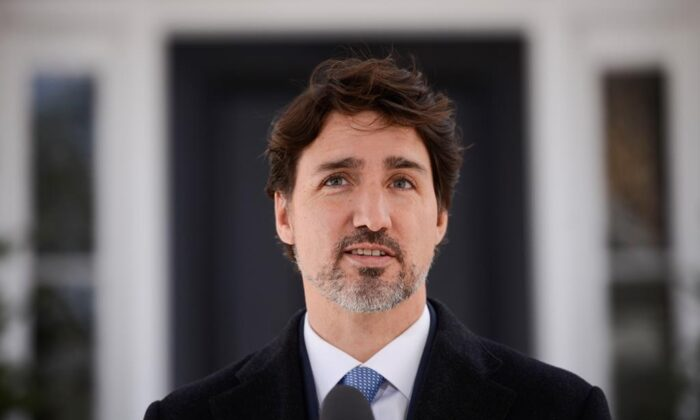 Prime Minister Justin Trudeau addresses Canadians on the COVID-19 pandemic from Rideau Cottage in Ottawa on April 7, 2020. (The Canadian Press/Sean Kilpatrick)