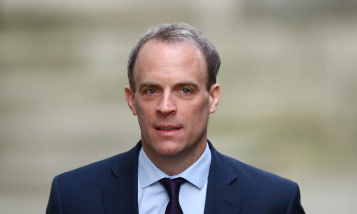 Britain's Secretary of State for Foreign affairs Dominic Raab arrives in Downing Street, London on April 8, 2020. (Hannah McKay/Reuters)