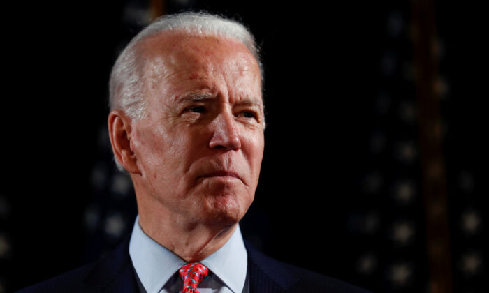 Democratic presidential candidate and former Vice President Joe Biden speaks about responses to the CCP virus pandemic at an event in Wilmington, Delaware, on March 12, 2020. (Carlos Barria/Reuters)