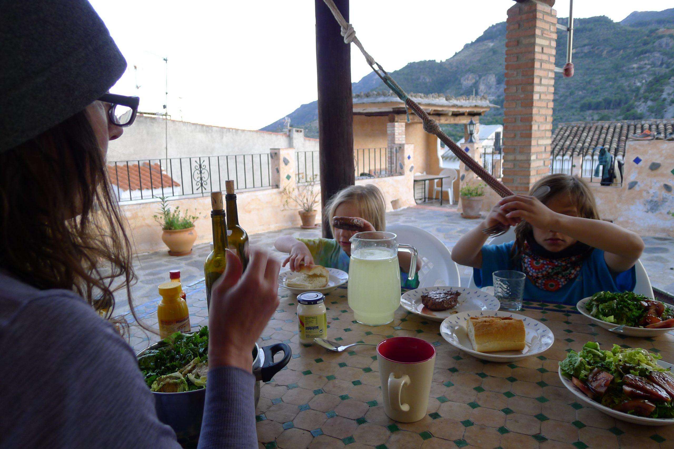 family eating on spanish terrace