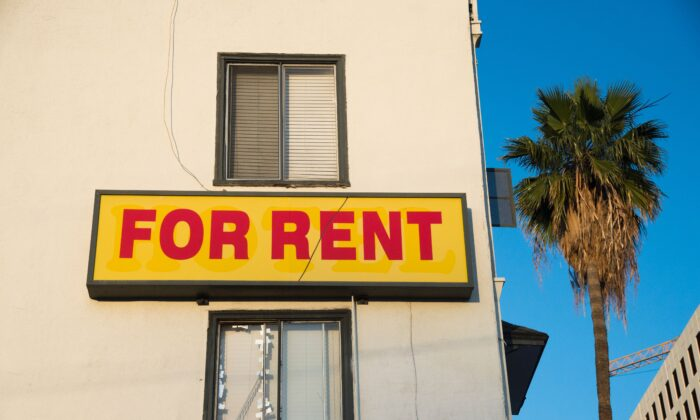 "A ""For Rent"" sign is seen on a building Hollywood, California, on May 11, 2016. (Robyn Beck/AFP/Getty Images)"