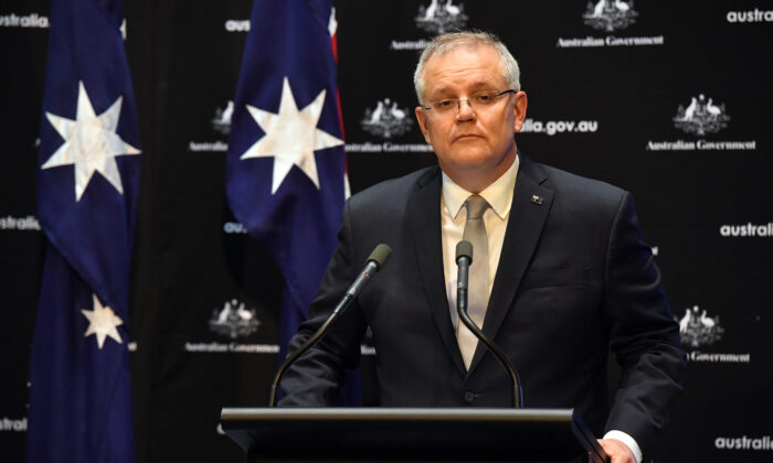 Prime Minister Scott Morrison during a press conference in the Main Committee Room at Parliament House on April 07, 2020 in Canberra, Australia. (Sam Mooy/Getty Images)