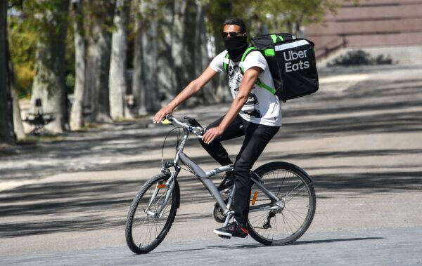 An Uber Eats delivery man