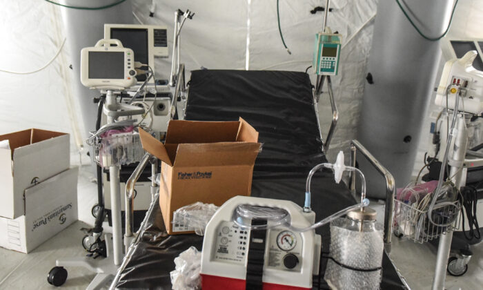 A ventilator and other hospital equipment is seen in an emergency field hospital to aid in the COVID-19 pandemic in Central Park in New York City on March 30, 2020. (Stephanie Keith/Getty Images)